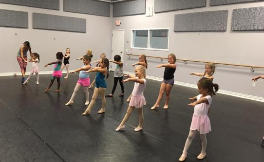 Mini Intensive dancers at Center Stage in Leander working on their dance technique.